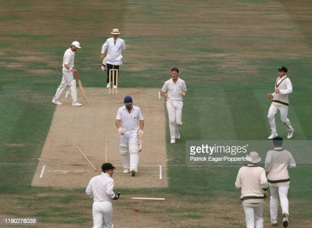 England batsman Robin Smith walks off after being bowled for 11 runs by Geoff Lawson of Australia during the 6th Test match between England and...