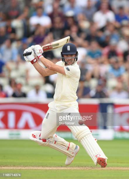 England batsman Rory Burns cuts a ball to the boundary during day two of the First Specsavers Test Match between England and Australia at Edgbaston...