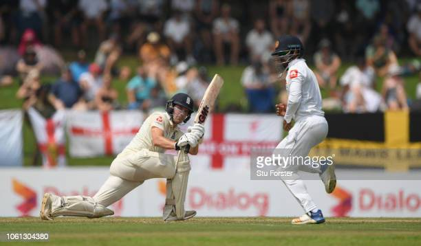 England batsman Rory Burns hits out during Day One of the Second Test match between Sri Lanka and England at Pallekele Cricket Stadium on November 10...