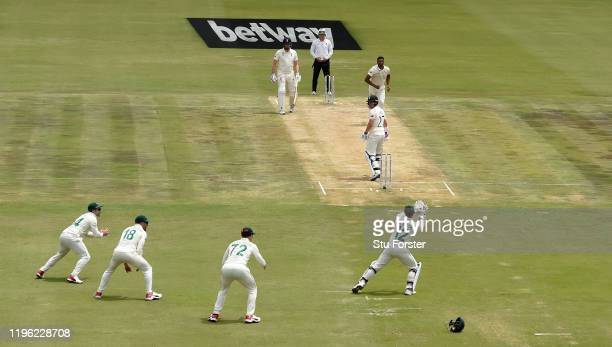 England batsman Rory Burns is caught behind by Quinton de Kock off the bowling of Vernon Philander during Day Two of the First Test match between...