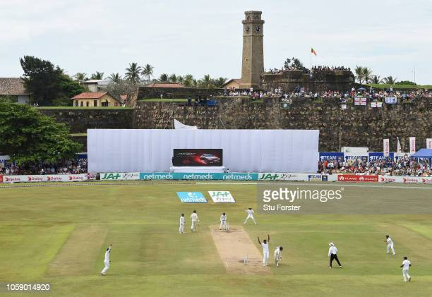 England batsman Rory Burns is run out by Dimuth Karunaratne during Day three of the First Test match between Sri Lanka and England at Galle...