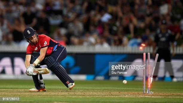 England batsman Sam Billings is bowled by Trent Boult during the International Twenty20 match between New Zealand and England at Seddon Park on...