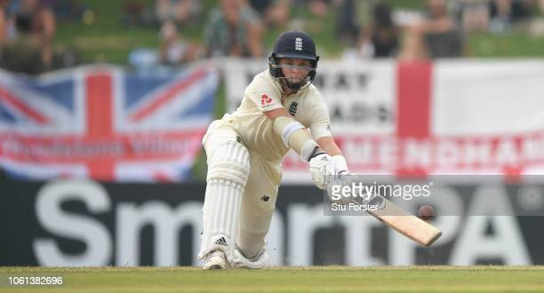 England batsman Sam Curran hits six runs during Day One of the Second Test match between Sri Lanka and England at Pallekele Cricket Stadium on...