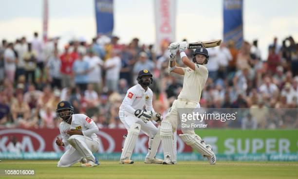 England batsman Sam Curran pulls a ball for 6 runs during Day One of the First Test match between Sri Lanka and England at Galle International...