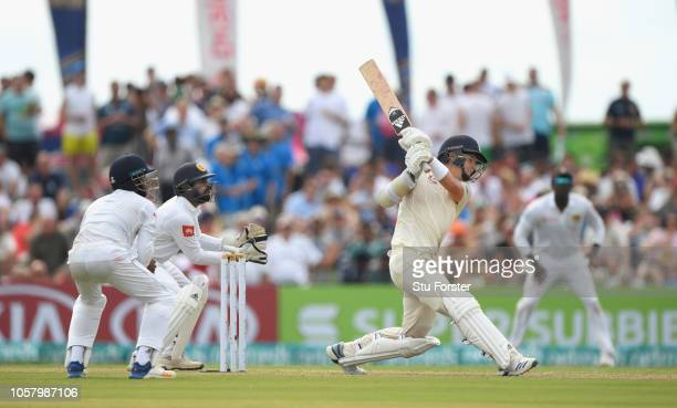 England batsman Sam Curran straight drives for 6 runs during Day One of the First Test match between Sri Lanka and England at Galle International...