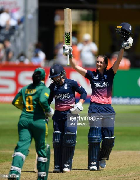 England batsman Sarah Taylor celebrates her century during the ICC Women's World Cup 2017 match between England and South Africa at The County Ground...
