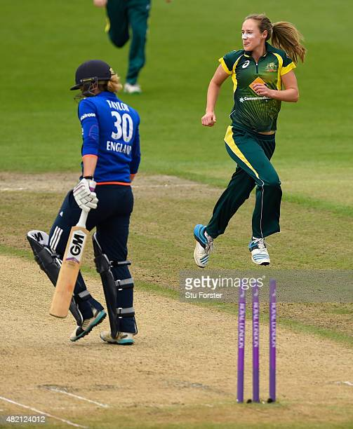 England batsman Sarah Taylor looks round after being bowled by Australia bowler Ellyse Perry during the 3rd Royal London ODI of the Women's Ashes...