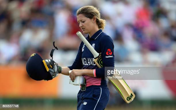 England batsman Sarah Taylor walks off after being dismissed during the ICC Women's World Cup 2017 match between England and India at The 3aaa County...