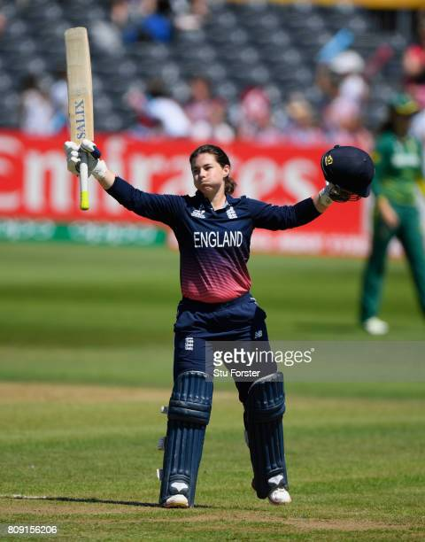 England batsman Tammy Beaumont celebrates her century during the ICC Women's World Cup 2017 match between England and South Africa at The County...