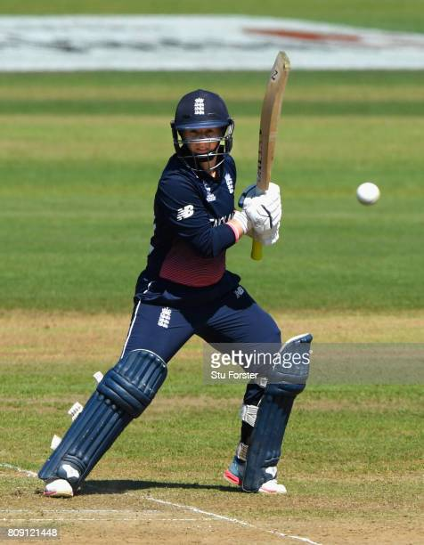 England batsman Tammy Beaumont hits out during the ICC Women's World Cup 2017 match between England and South Africa at The County Ground on July 5...