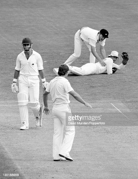 England batsman Tim Robinson is out caught behind by New Zealand wicketkeeper Ian Smith off the bowling of Danny Morrison for 70 runs during the 1st...