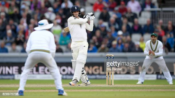 England batsman Toby RolandJones pulls a ball to the boundary during day three of the 4th Investec Test Match between England and South Africa at Old...