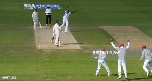 England batsman Tom Westley is caught behind off the bowling of Jason Holder during day three of the 2nd Investec Test match between England and West...