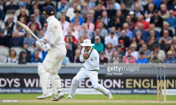 England batsman Tom Westley is caught by South Africa sub fielder Markham during day three of the 4th Investec Test Match between England and South...