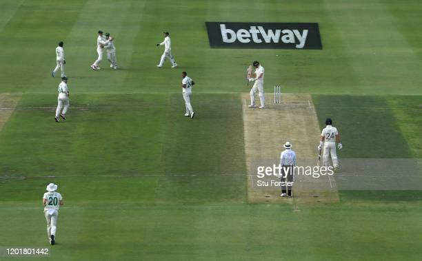 England batsman Zac Crawley is caught at slip by Rassie van der Dussen off the bowling of Vernon Philander during Day One of the Fourth Test between...