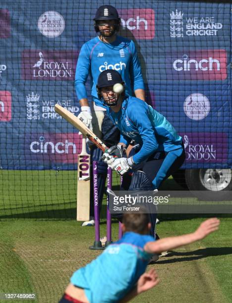 England batsman Zak Crawley in batting action watched by Dawid Malan during nets ahead of the 1st ODI between England and Pakistan at Sophia Gardens...