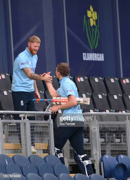 England batsman Zak Crawley is congratulated by captain Ben Stokes after the 1st Royal London Series One Day International between England and...