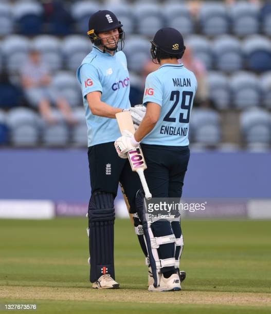 England batsman Zak Crawley reaches his 50 and is congratulated by partner Dawid Malan during the 1st Royal London Series One Day International...