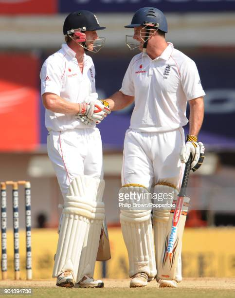England batsmen Andrew Strauss and Paul Collingwood celebrate their 200run partnership in the 2nd innings of the 1st Test match between India and...