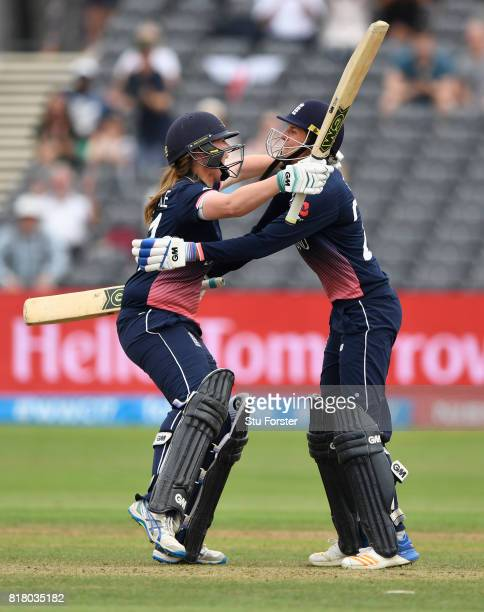 England batsmen Anya Shrubsole and Jenny Gunn celebrate the wining runs during the ICC Women's World Cup 2017 SemiFinal between England and South...