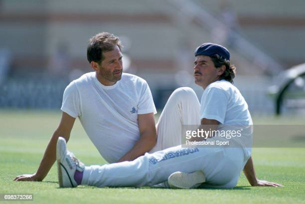 England batsmen Graham Gooch and Allan Lamb sit on the pitch before the 3rd Test match between England and India at The Oval London 22nd August 1990