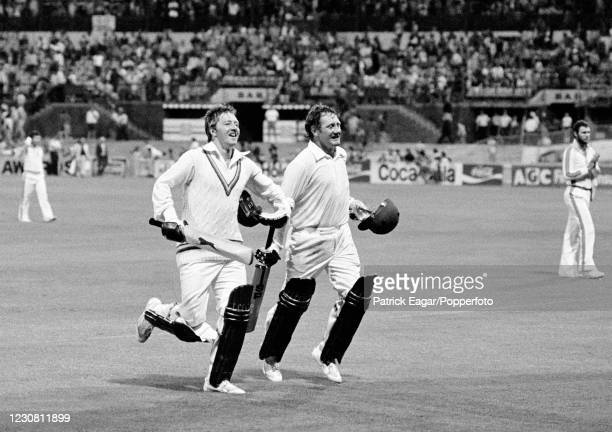 England batsmen Graham Stevenson and David Bairstow run from the field after seeing England to victory by 2 wickets in the Benson and Hedges World...