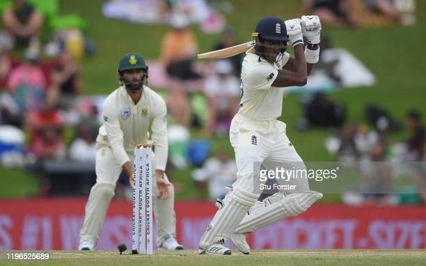 England batsmen Jofra Archer cuts a ball to the boundary during Day Four of the First Test match between England and South Africa at SuperSport Park...