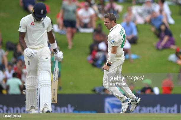 England batsmen Jofra Archer walks off after being dismissed by Anrich Nortje for 4 runs during Day Four of the First Test match between England and...