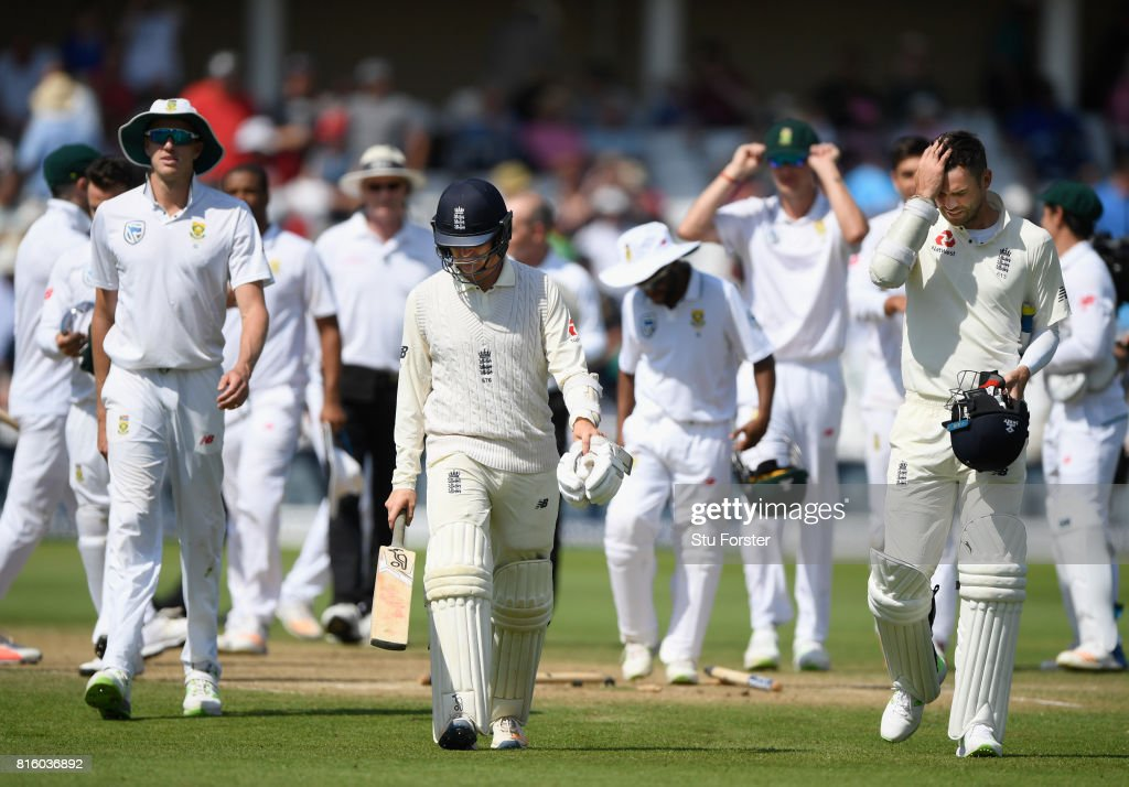 England batsmen Liam Dawson (l) and James Anderson leave the field after the fall of the last wicket after day four of the 2nd Investec Test match between England and South Africa at Trent Bridge on July 17, 2017 in Nottingham, England.