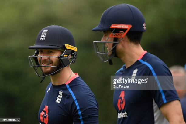 England batsmen Mark Stoneman and Alastair Cook look on before taking their first net of the tour during England nets ahead of their first warm up...