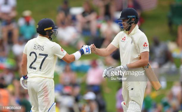 England batsmen Rory Burns and Dom Sibley reach their 50 partnership during Day Three of the First Test match between England and South Africa at...