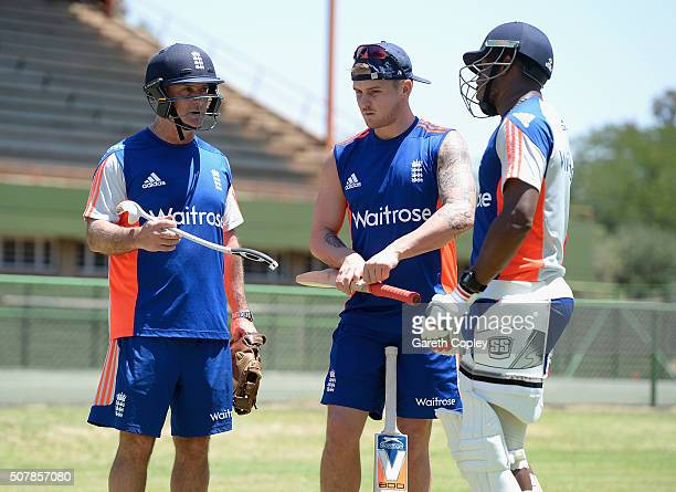 England batting coach Graham Thorpe speaks with Jason Roy and Chris Jordan during a nets session at Mangaung Oval on February 1 2016 in Bloemfontein...