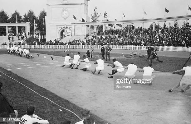 England beats U.S. In tug of war, the Olympics.