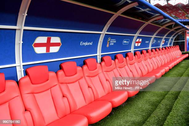 England bench is seen empty prior to the 2018 FIFA World Cup Russia Round of 16 match between Colombia and England at Spartak Stadium on July 3 2018...
