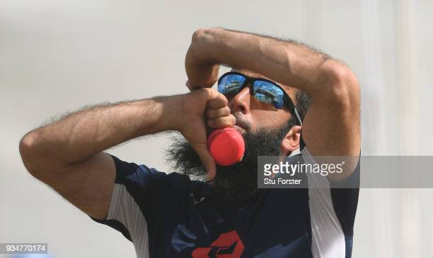 England bower Moeen Ali in action during England nets at Eden Park on March 20 2018 in Auckland New Zealand
