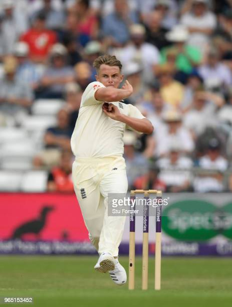 England bowker Sam Curran in action during day one of the second Test Match between England and Pakistan at Headingley on June 1 2018 in Leeds England