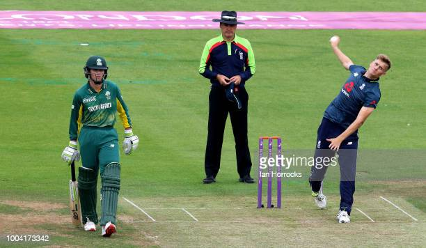 England bowler Adam Finch during the 1st ODI between England U19 and South Africa U19 at Emirates Riverside on July 23 2018 in ChesterleStreet England