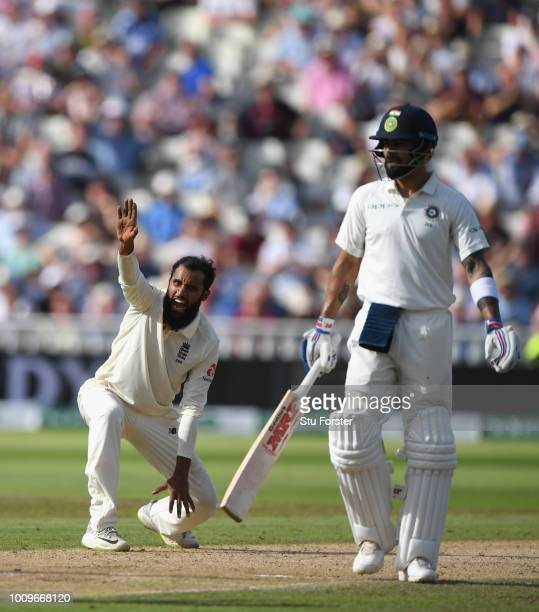 England bowler Adil Rashid appeals with success after having Sharma LBW during day two of the First Specsavers Test Match between England and India...