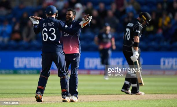 England bowler Adil Rashid celebrates after dismissing Mitchell Santner during the ICC Champions Trophy match between England and New Zealand at...