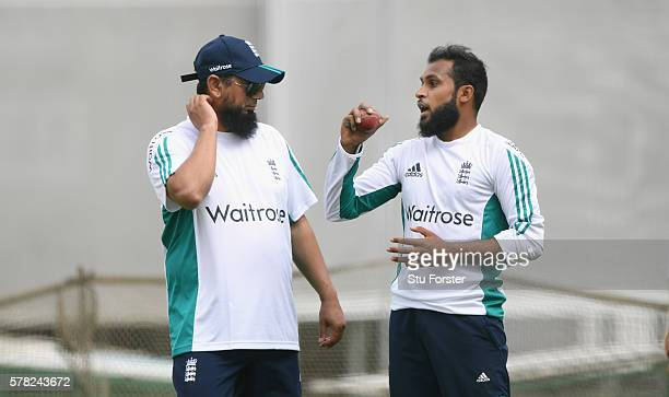England bowler Adil Rashid chats with spin bowling coach Saqlain Mushtaq during England Nets ahead of the 2nd Investec test match against Pakistan at...