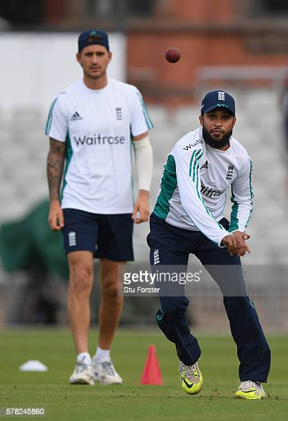 England bowler Adil Rashid in action as Aalex Hales looks on during England Nets ahead of the 2nd Investec test match against Pakistan at Old...