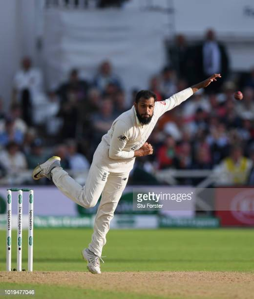 England bowler Adil Rashid in action during day two of the 3rd Specsavers Test Match between England and India at Trent Bridge on August 19 2018 in...