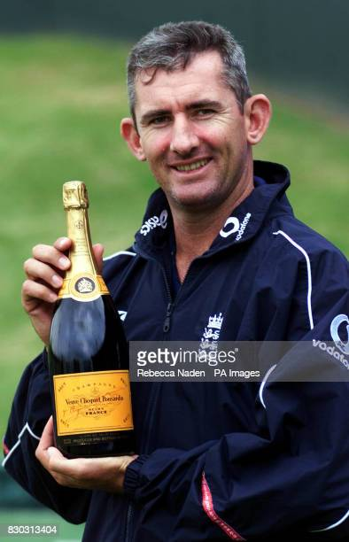 England bowler Andrew Caddick with his award for the Champagne Moment presented by BBC Test Match Special Report at net practice. His moment was when...