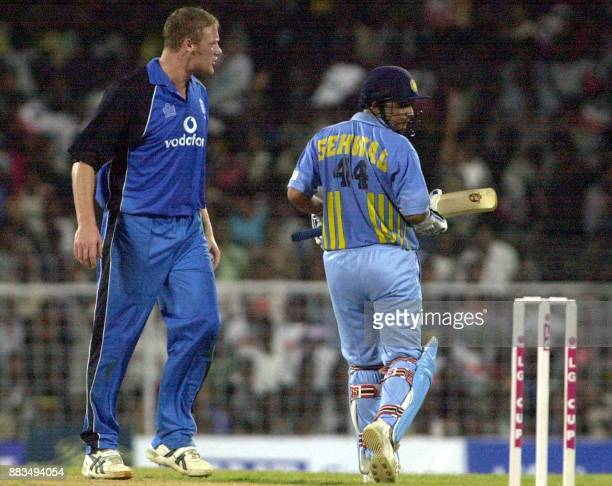 England bowler Andrew Flintoff hurls abuses at Indian batsman Virender Sehwag during the third oneday match against England at the MA Chidambaram...