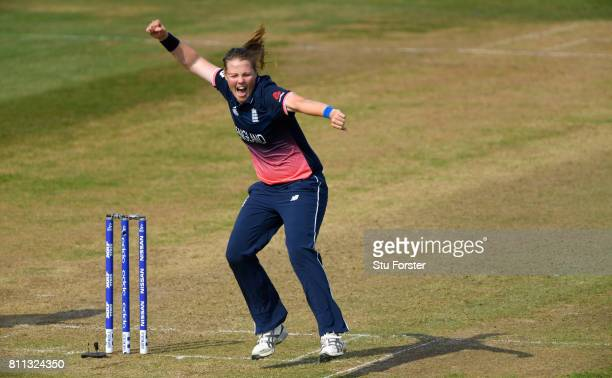 England bowler Anya Shrubsole celebrates after taking the wicket of Villani during the ICC Women's World Cup 2017 match between England and Australia...
