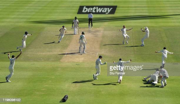 England bowler Ben Stokes celebrates after Anrich Nortje is caught at slip at the second attempt by Zac Crawley during Day Five of the Second Test...