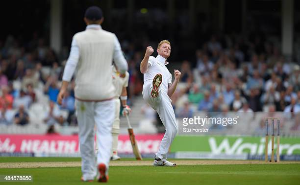 England bowler Ben Stokes celebrates after dismissing Australia batsman Michael Clarke during day one of the 5th Investec Ashes Test match between...