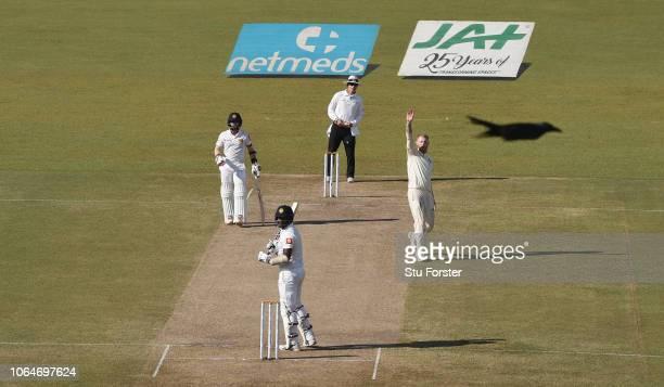 England bowler Ben Stokes celebrates after having Sri Lanka batsman Angelo Mathews caught behind during Day Two of the Third Test match between Sri...