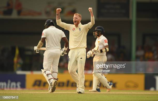 England bowler Ben Stokes celebrates after having Sri Lanka batsman Angelo Mathews caught in the deep by Stuart Broad during Day Three of the Third...