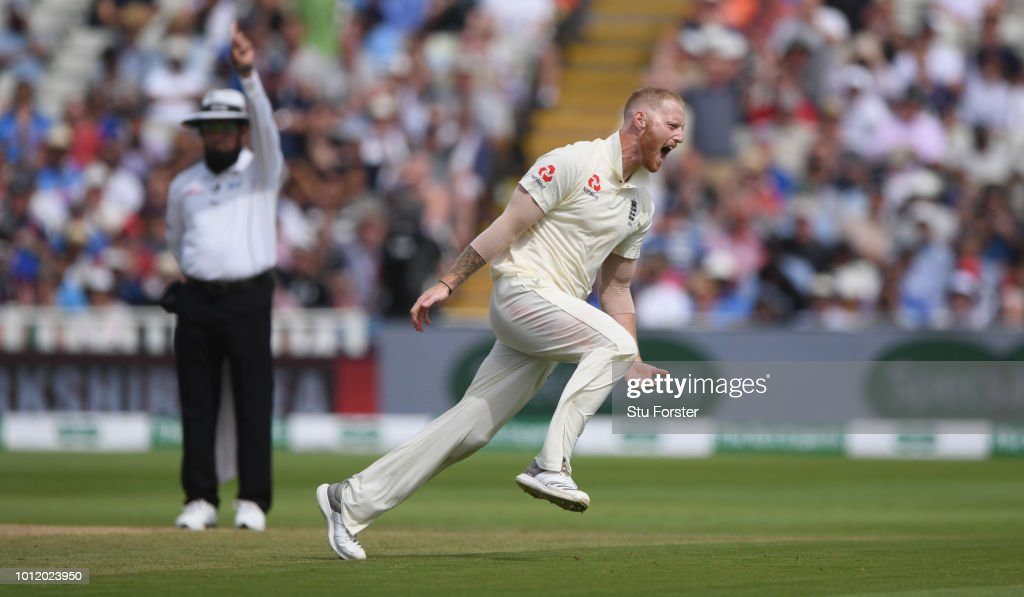 England bowler Ben Stokes celebrates after taking the wicket of India batsman Mohammed Shami during day 4 of the First Specsavers Test Match between England and India at Edgbaston on August 4, 2018 in Birmingham, England.